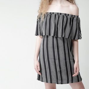 black and white stripped off the shoulder dress